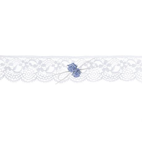 Čipkový podväzok s modrými ružičkami