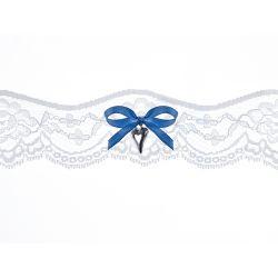 Krajkový podväzok s modrou mašličkou