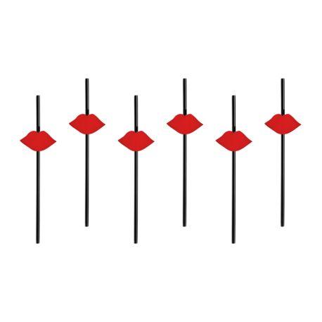 Červené papierové slamky - ústa