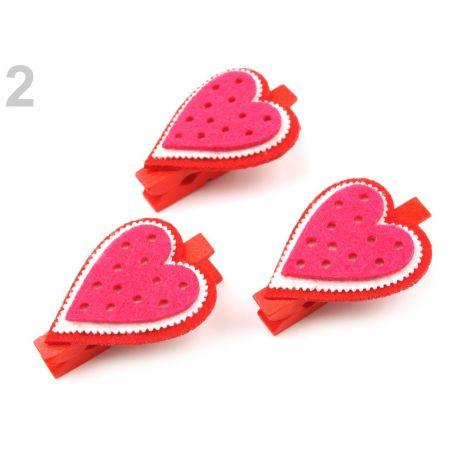 Ružové svadobné štipce - srdce