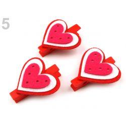 Červené svadobné štipce - srdce