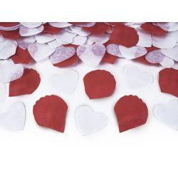 Vystreľovacie konfety (granát) - biele srdcia, červené lupene 30cm