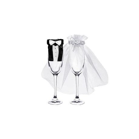 Svadobné oblečenie na poháre