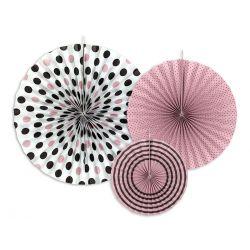 Ružové a čierne dekoračné rozety