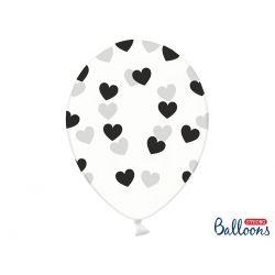 Čierne srdiečka - biely balón