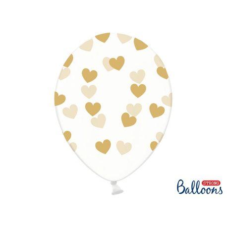 Zlaté srdiečka - biely balón