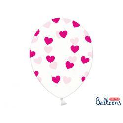 Fuchsiové srdiečka - biely balón