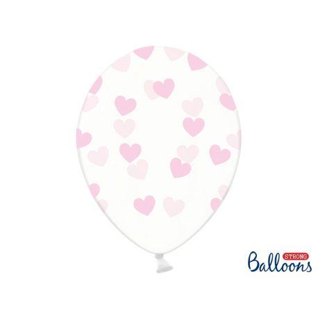 Ružové srdiečka - biely balón