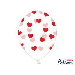 Balón Crystal Clear srdiečka - červená farba