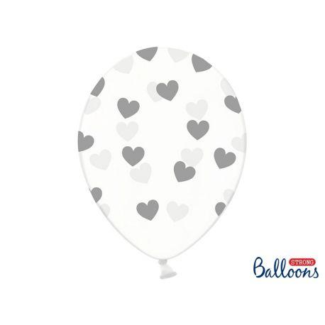 Strieborné srdiečka - biely balón