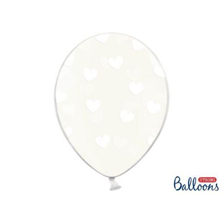 Biele srdiečka - biely balón