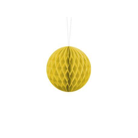 Žltá papierová guľa - Honeycomb Ball - 10cm