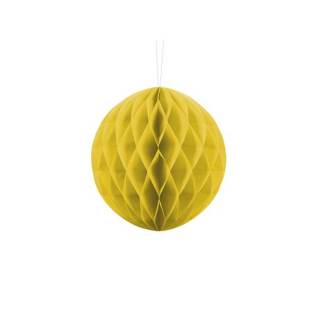 Žltá papierová guľa - Honeycomb Ball - 20cm
