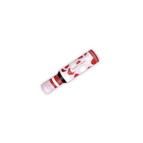 Vystreľovacie konfety - biele srdcia, červené lupene