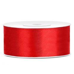 Červená saténová stuha - 25mm/25m