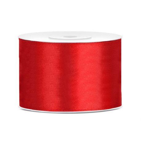 Červená saténová stuha - 50mm/25m