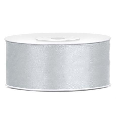 Stuha saténová 12mm/32m svetlo sivá/strieborná