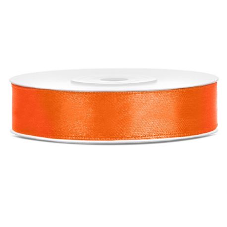 Oranžová saténová stuha - 12mm/25m