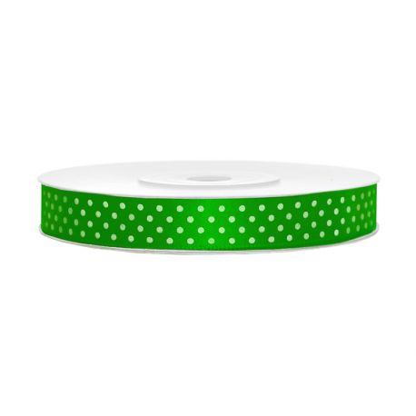 Saténová stuha zelená s bodkami 12mm/25m