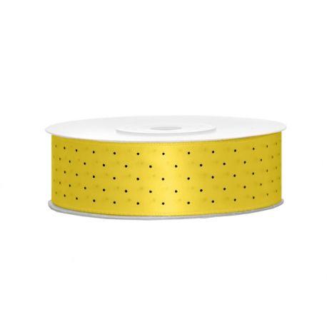 Žltá saténová stuha s bodkami - 25mm/25m