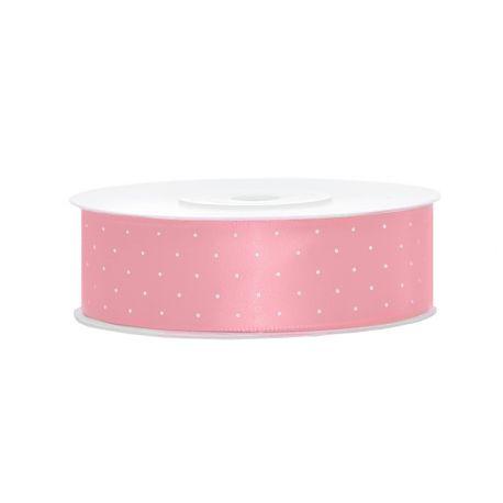 Ružová saténová stuha s bodkami - 12mm/25m