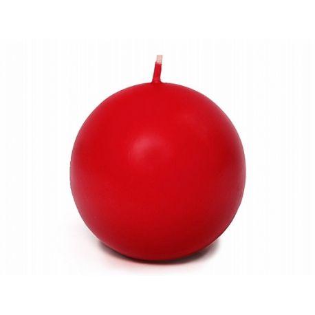 Červená sviečka guľa matná