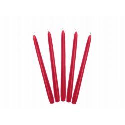 Červená kónická sviečka matná - 24cm