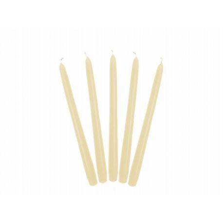 Krémová kónická sviečka matná - 24cm