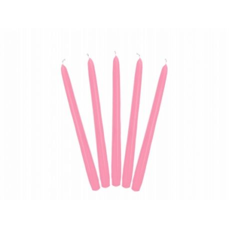 Ružová kónická sviečka matná - 24cm