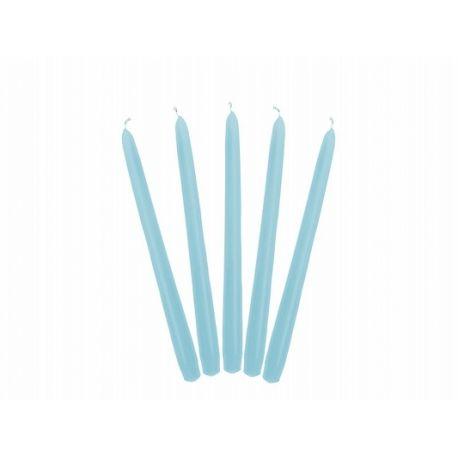 Modrá kónická sviečka matná - 24cm