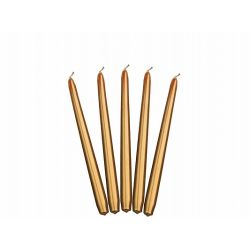 Zlatá kónická sviečka metalická - 24cm