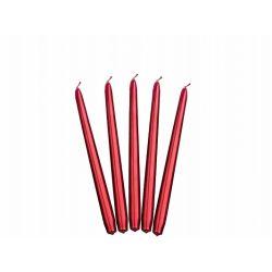 Červená kónická sviečka metalická - 24cm