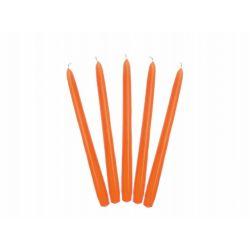 Oranžová kónická sviečka matná - 24cm