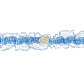 Podväzok modrý s bielou ružičkou