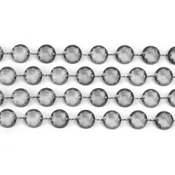 Girlanda kryštálová 1m sivá