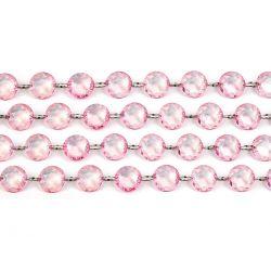Girlanda kryštálová 1m ružová