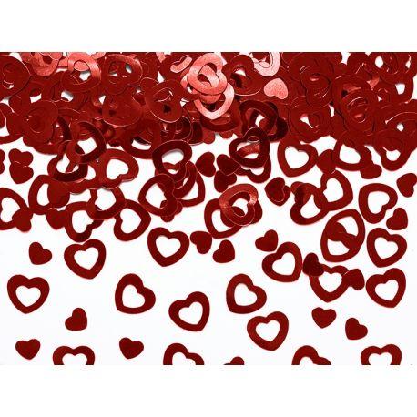 Červené konfety na stôl - srdcia
