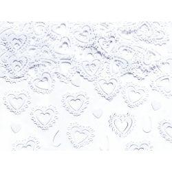 Biele konfety na stôl - vyrezávané srdcia