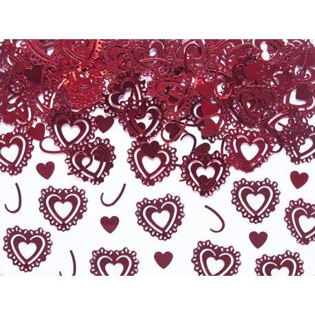 Konfety vyrezávané srdcia červené