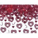 Červené konfety na stôl - vyrezávané srdcia