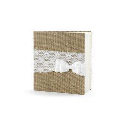 Svadobná kniha hostí vintage juta s čipkou