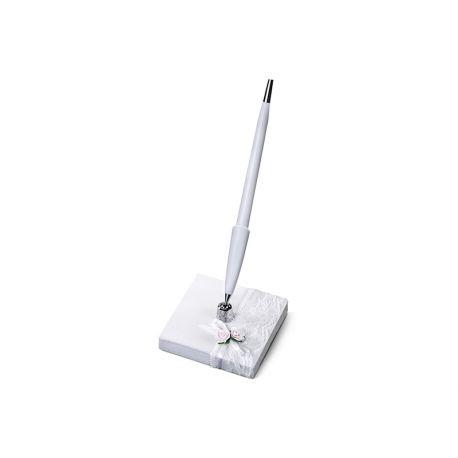 Svadobné pero so stojančekom s čipkou