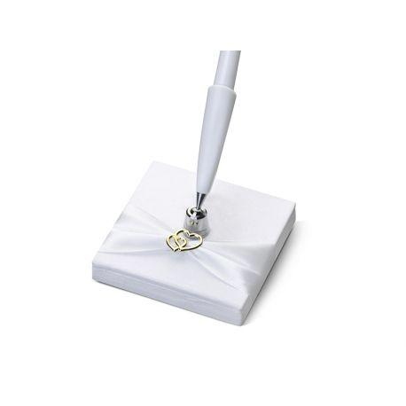 Ozdobné pero na svadbu - zlaté srdiečka