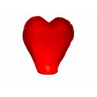 Červený lietajúci lampión srdce