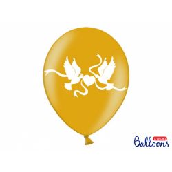 Balón Metallic zlatý - biele holubice