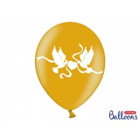 Zlatý metalický balón - biele holubice
