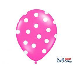 Balón Pastel cyklamenový - biele bodky