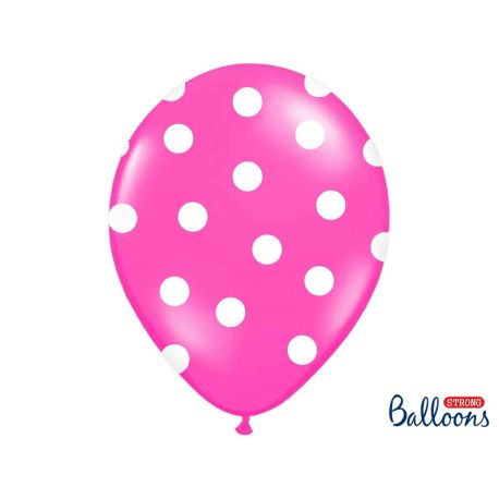 Cyklamenový balón s bielymi bodkami