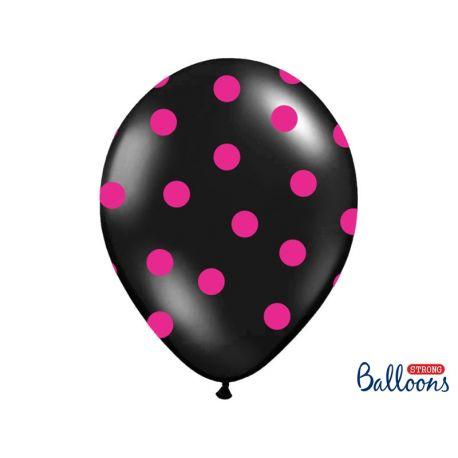 Čierny balón s ružovými bodkami