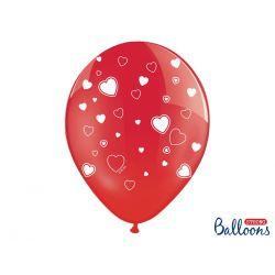 Balón Crystal červený - biele srdcia